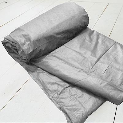 米夢家居-台灣製造-100%精梳純棉雙面素色薄被套-原野灰-雙人