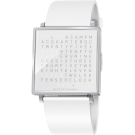 QLOCKTWO Watch 潮流時尚文字手錶-白x皮革錶帶/35mm