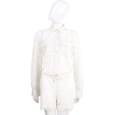 SCERVINO 白色棉料織花蕾絲襯衫式連身短褲