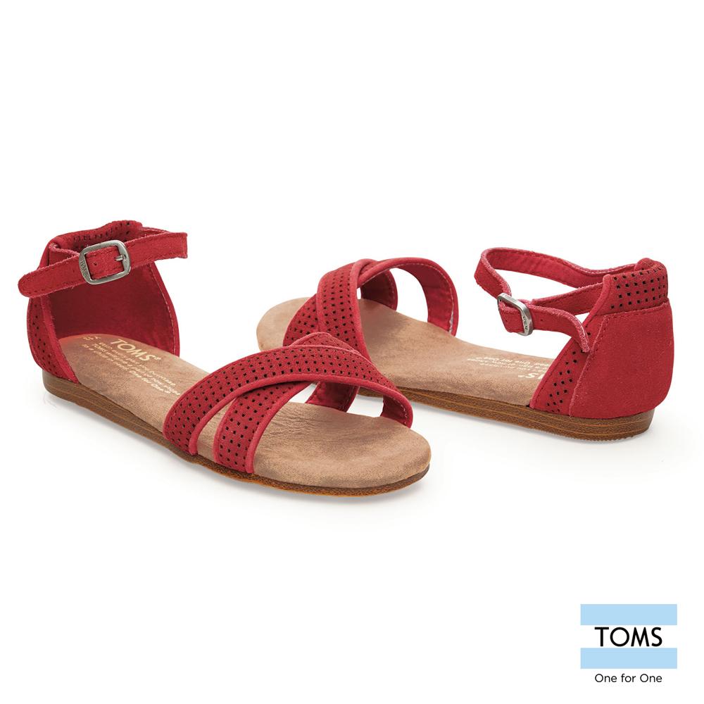 TOMS 繫踝麂皮平底涼鞋-孩童款(紅)