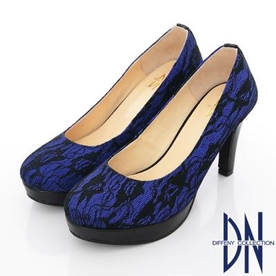 DN-優雅仕女-MIT法式鏤花蕾絲高跟鞋-藍