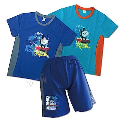 湯瑪士小火車 兒童運動短袖衫2件+短褲1件-混色-MIT