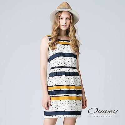 OUWEY歐薇 跳色條紋圓點印花洋裝(黃)