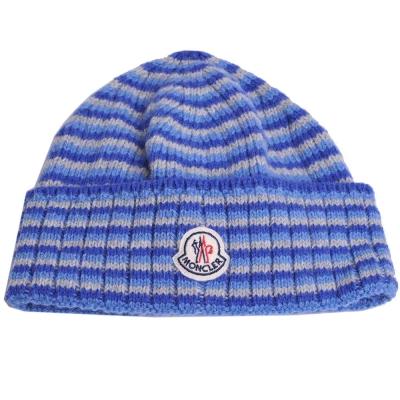 MONCLER 經典品牌圖騰羊毛漸層橫紋造型毛帽(藍色系)