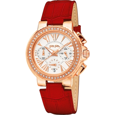 Folli Follie Watchalicious 羅馬晶鑽計時女錶-白x紅/32mm