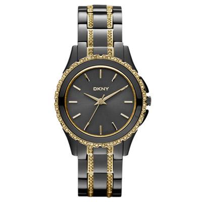 DKNY 浪漫星河晶鑽時尚腕錶-鐵灰x金/32mm