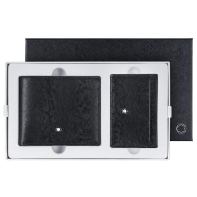 萬寶龍牛皮壓紋6卡短夾+3卡卡片夾禮盒