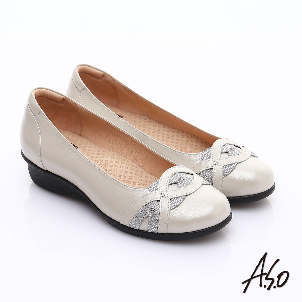 A.S.O 舒適通勤 水鑽奢華通勤鞋 銀白