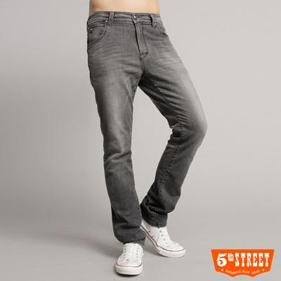 5th-STREET-入門百搭-伸縮合身直筒牛仔褲-男款-灰色