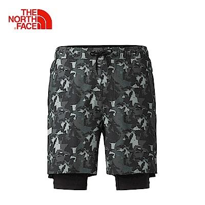 The North Face北面男款黑色印花吸濕排汗防潑水運動短褲