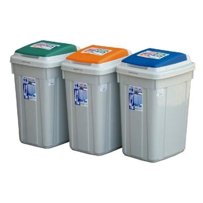 日式大容量分類附蓋垃圾桶(42L)三入