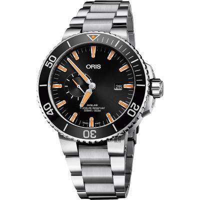 Oris豪利時 Aquis 小秒針500米專業潛水機械錶-黑x銀/45.5mm