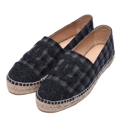 CHANEL經典Espadrilles小香LOGO絲絨格紋厚底鉛筆鞋(灰_39)