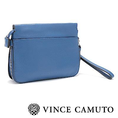 Vince Camuto 素面拉鍊手拿肩背兩用包-藍色