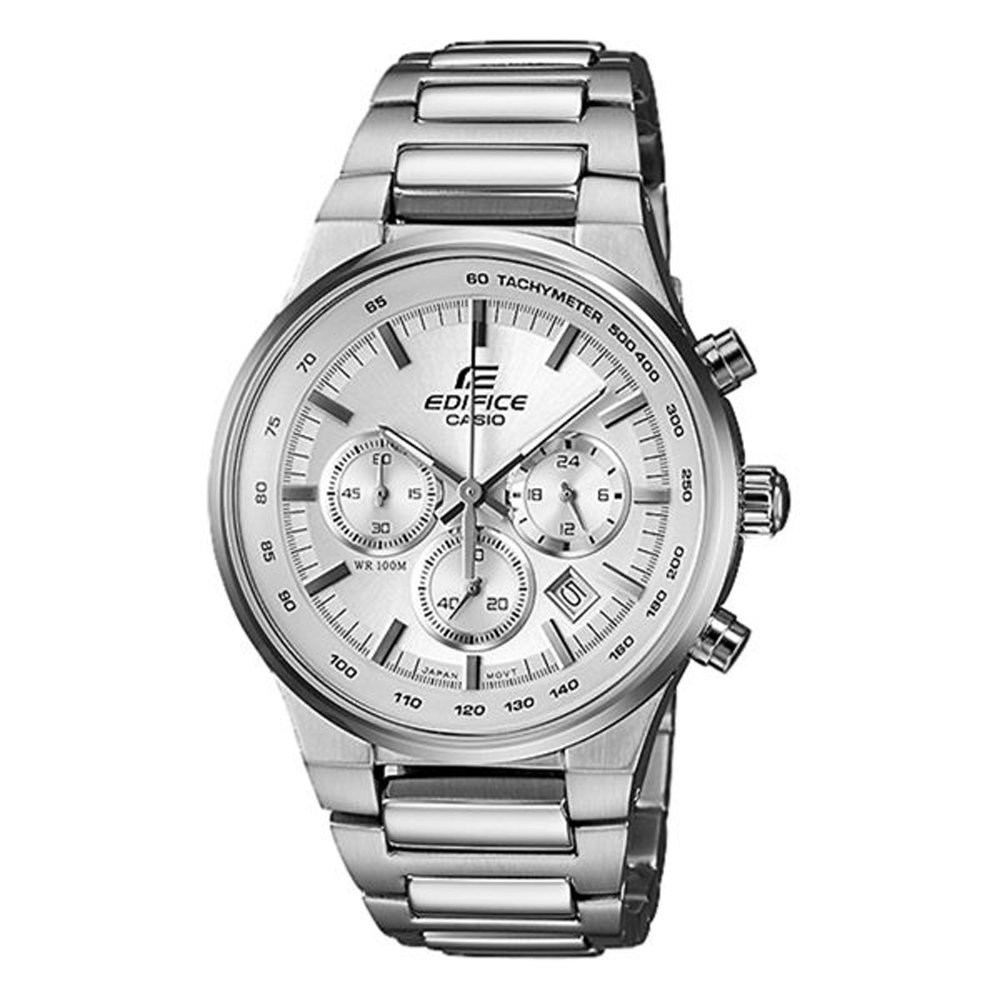 EDIFICE系列 卓越速度三眼時尚腕錶-白-40mm
