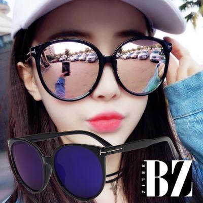 BeLiz 反射大圓框 黑色膠框墨鏡 藍