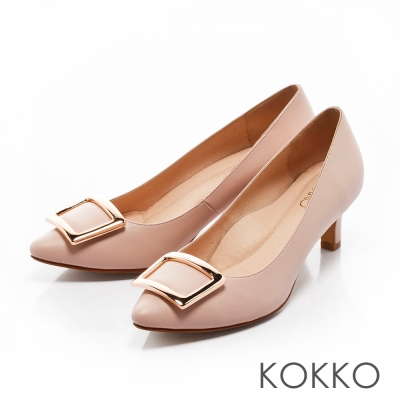KOKKO- 優雅金屬方扣尖頭羊皮高跟鞋 - 粉色