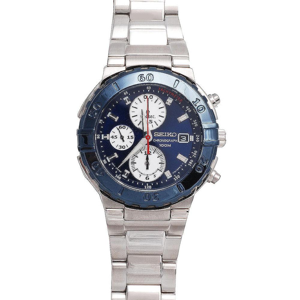 SEIKO CRITERIA 三眼計時賽車腕錶(SND683P1)-藍/42mm