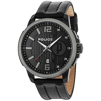POLICE 自信風範時尚皮革手錶-黑/50mm