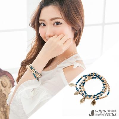 維克維娜 波西米亞,寶石藍銅落葉四鍊韓系手環