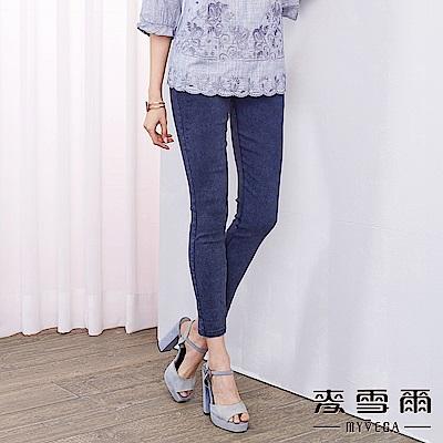 麥雪爾 圖騰鑽飾修身棉質顯瘦褲