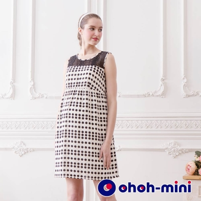 ohoh-mini 孕婦裝 優雅蕾絲拼接點點無袖洋裝