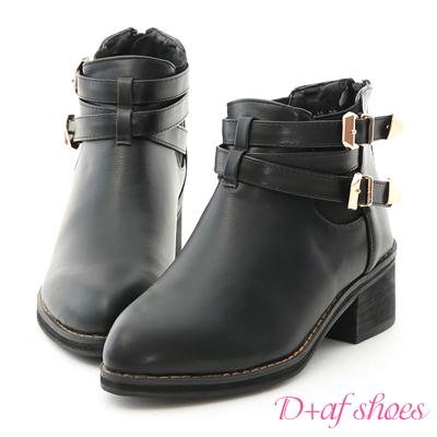 D+AF 獨特指標.交叉金屬釦飾尖頭短靴*黑