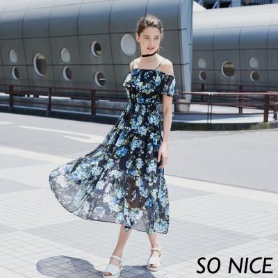 SO NICE浪漫花朵雪紡長洋裝-動態show