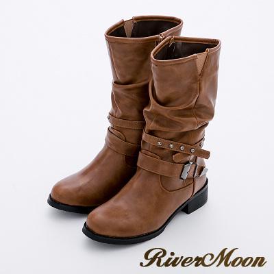 River&Moon加大尺碼-個性鉚釘皮帶中統騎士靴-棕