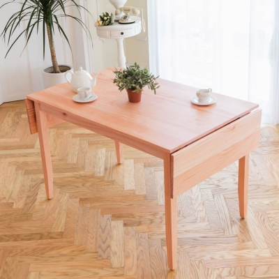 CiS自然行實木家具-雙邊實木延伸桌118~166cm(溫暖柚木色)
