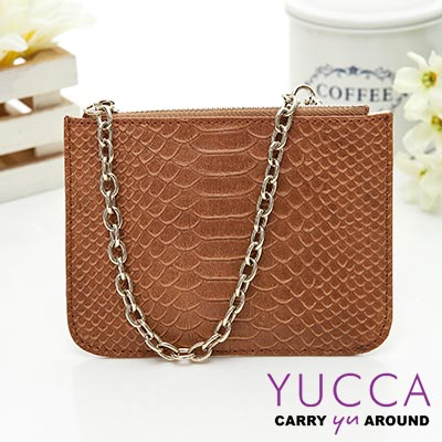YUCCA - 時尚牛皮蛇紋零錢鑰匙包-駝色 14192016C47