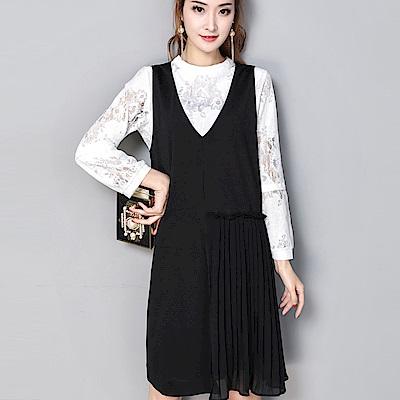 ALICAI 艾麗彩 氣質雪紡V領不對襯背心裙蕾絲長袖兩件式洋裝(L-4XL)