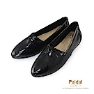 Paidal金屬系漆亮皮蛇紋時尚尖頭鞋-時尚黑
