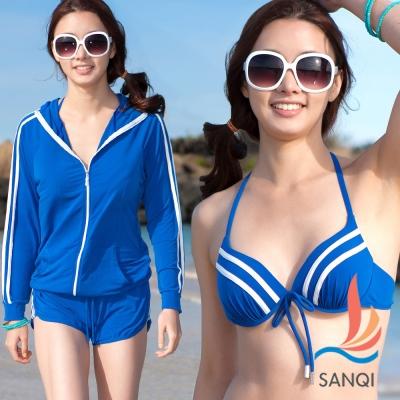 SANQI三奇 夏日運動風 四件式鋼圈比基尼泳衣(藍M.L)