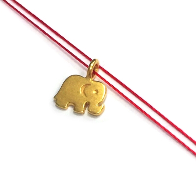 Dogeared 大象 ELEPHANT 好運健康 金墜紅色棉繩 許願項鍊