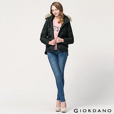 GIORDANO 女裝80%羽絨防潑水可拆帽羽絨外套 - 98 標誌黑