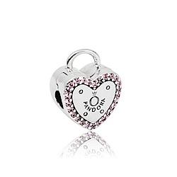 Pandora 潘朵拉 Logo愛心鑲鋯鎖頭造型 夾釦式純銀墜飾 串珠