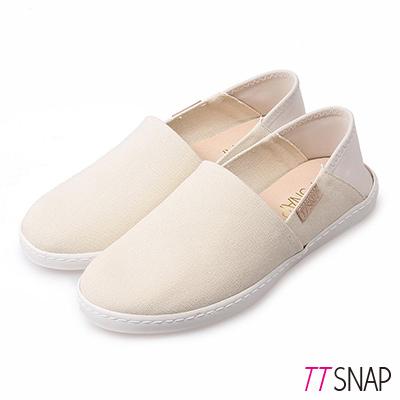 TTSNAP懶人鞋-MIT兩穿2WAY帆布真皮休閒鞋 米