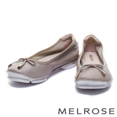 娃娃鞋 MELROSE 經典蝴蝶結超軟Q全真皮娃娃鞋-粉