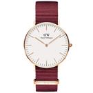 DW DanielWellington 經典風尚手錶-白X玫瑰金框X紅帶/36mm