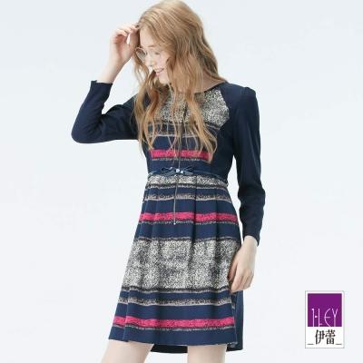 ILEY伊蕾-圓領拉鍊顯瘦緹花洋裝-藍
