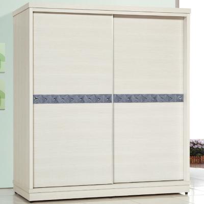 品家居 馥克萊5.8尺白橡色推門衣櫃-172.8x60x197.4cm-免組