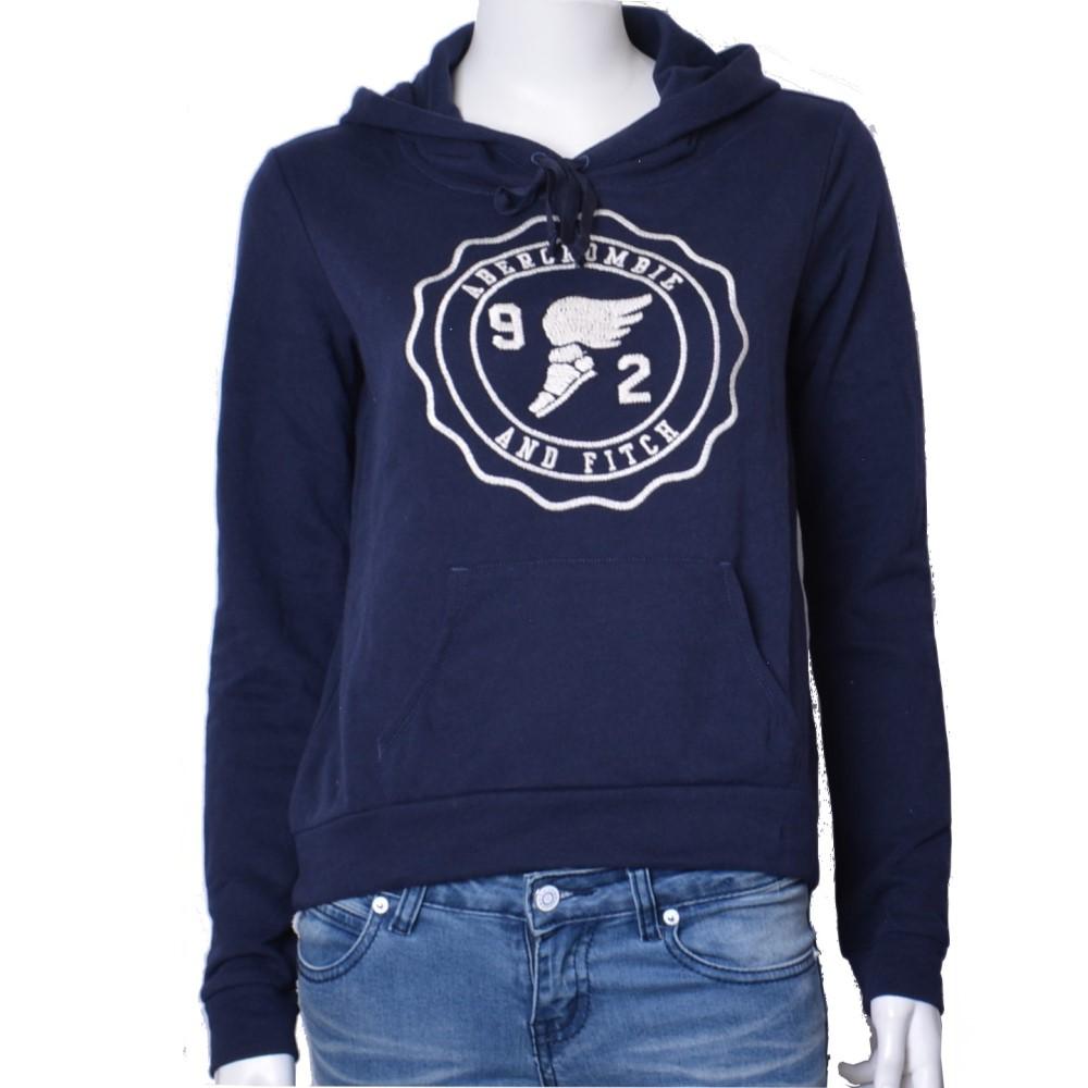 A&F Abercrombie & Fitch 刺繡大LOGO長袖帽T-深藍