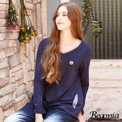 Begonia 點點布蕾絲拼接後開衩竹節棉上衣(共二色)
