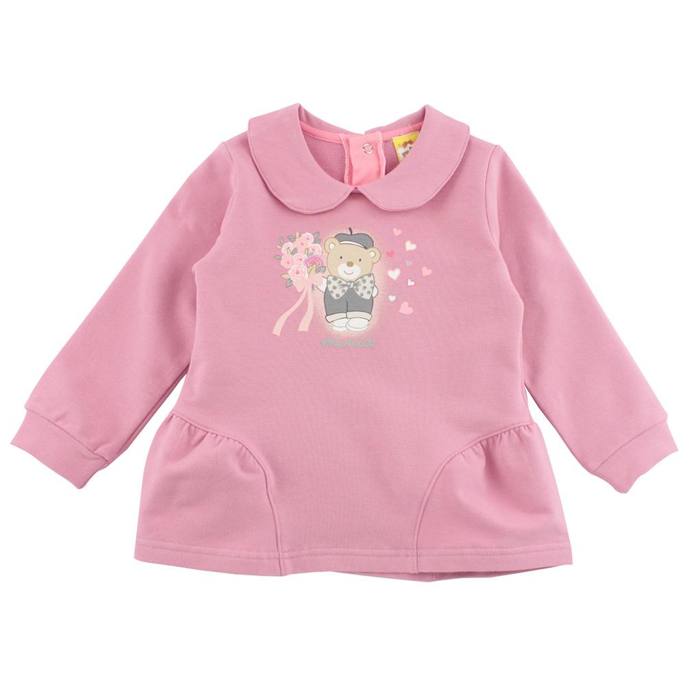 愛的世界 MYBABY 娃娃領拚接下襬長袖上衣/4~8歲