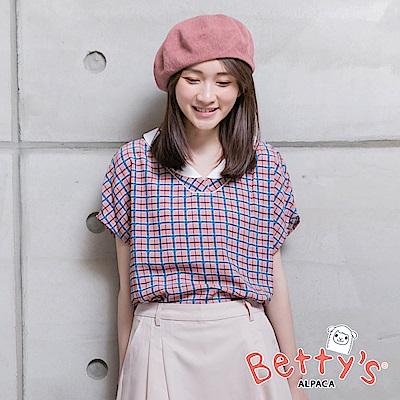 betty's貝蒂思 翻領格紋垂肩雪紡襯衫(淺粉)
