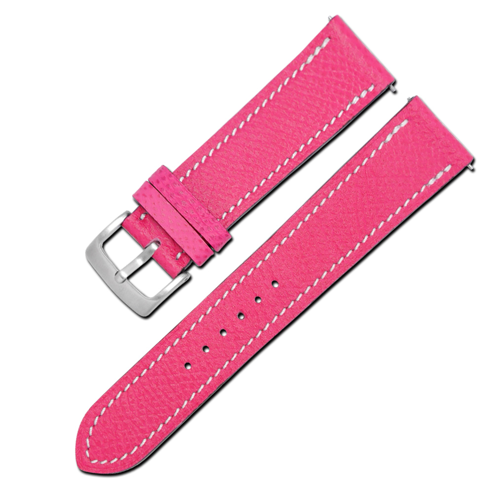 Watchband / HERMES 愛馬仕-法國進口柔軟替用真皮錶帶-桃紅色