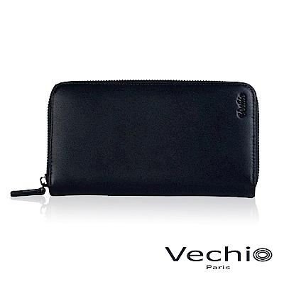 VECHIO-紳士商務款II-經典素面拉鍊長夾-午夜藍