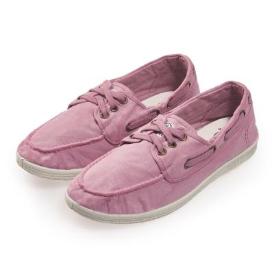 (女)Natural World 西班牙休閒鞋 刷色3孔綁帶款*淺紫色