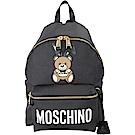 MOSCHINO Playboy 聯名款兔耳泰迪熊圖案後背包(黑色)